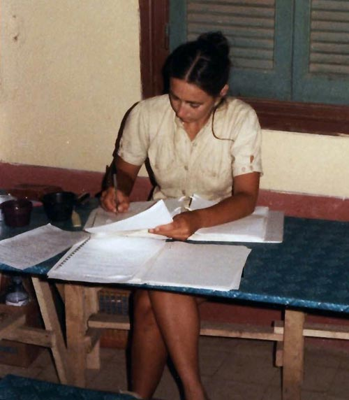 Meg Miller doing post field-day paperwork at Naukratis, Egypt, c1981