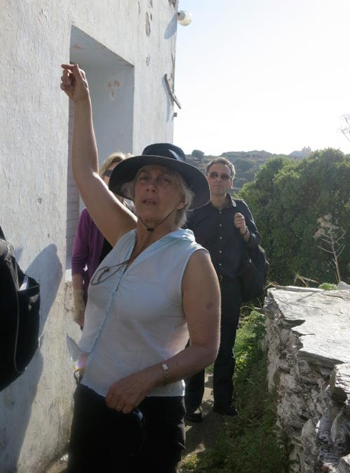 Professor Margaret Miller, looking at potential candidates for a dig house on Andros, May 2012