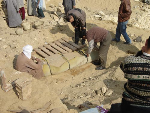 One of the excavated Late Period (664-525 BCE) coffins ready to be moved to a secure storehouse