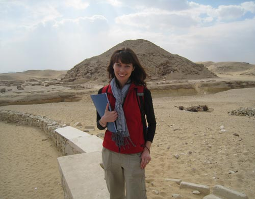 Melanie Pitkin at the pyramid complex of King Unis, Saqqara, Egypt