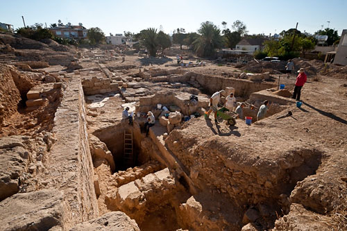 Excavation of a trench at Paphos, Cyprus