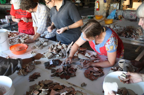 Pottery sorting at Paphos, Cyprus