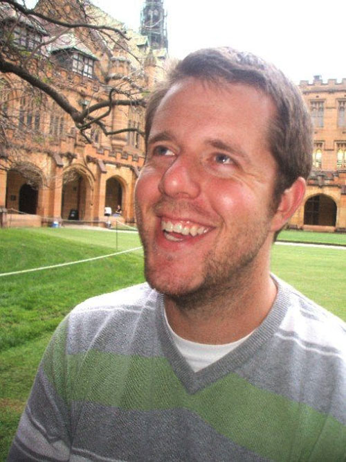 Hugh Thomas in the main quadrangle of Sydney University