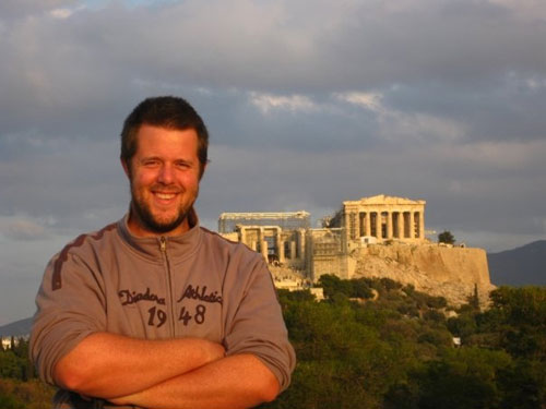 Hugh Thomas in Athens with the Parthenon behind him