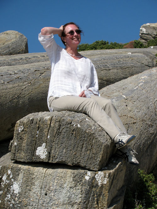 Wendy Reade in the Roman quarry at Karystos, on the island of Evia, Greece