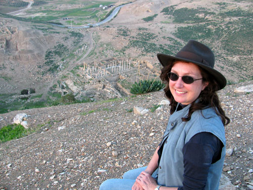 Wendy Reade on a hill overlooking Pella, Jordan, in 2011