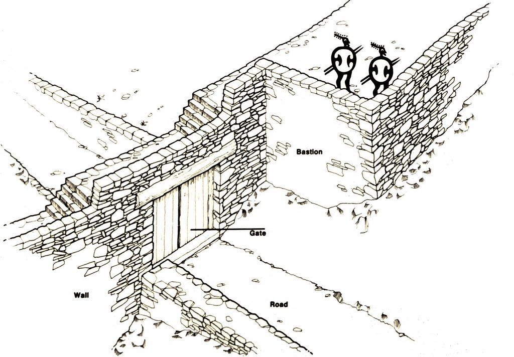 The fortification wall at Zagora, drawn by J. J. Coulton