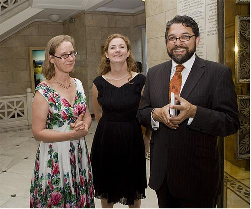R-L: AAIA staff, Wayne Mullen, Camilla Norman and Beatrice McLoughlin in Athens