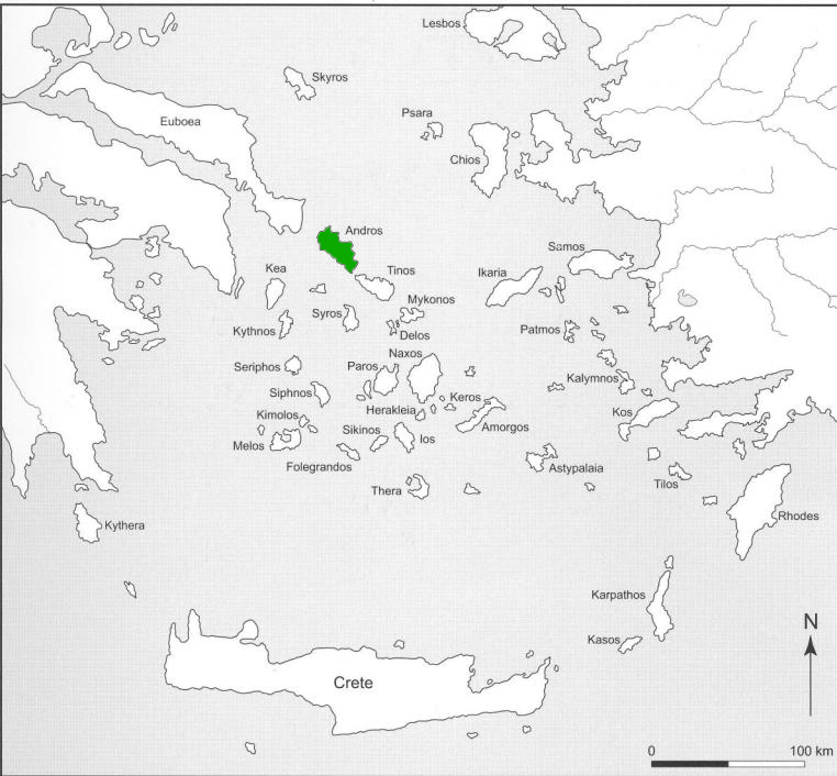 Map of Aegean islands showing Andros