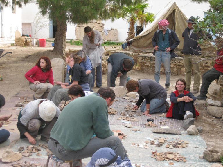 Pottery sorting at Pella, Jordan, 2009