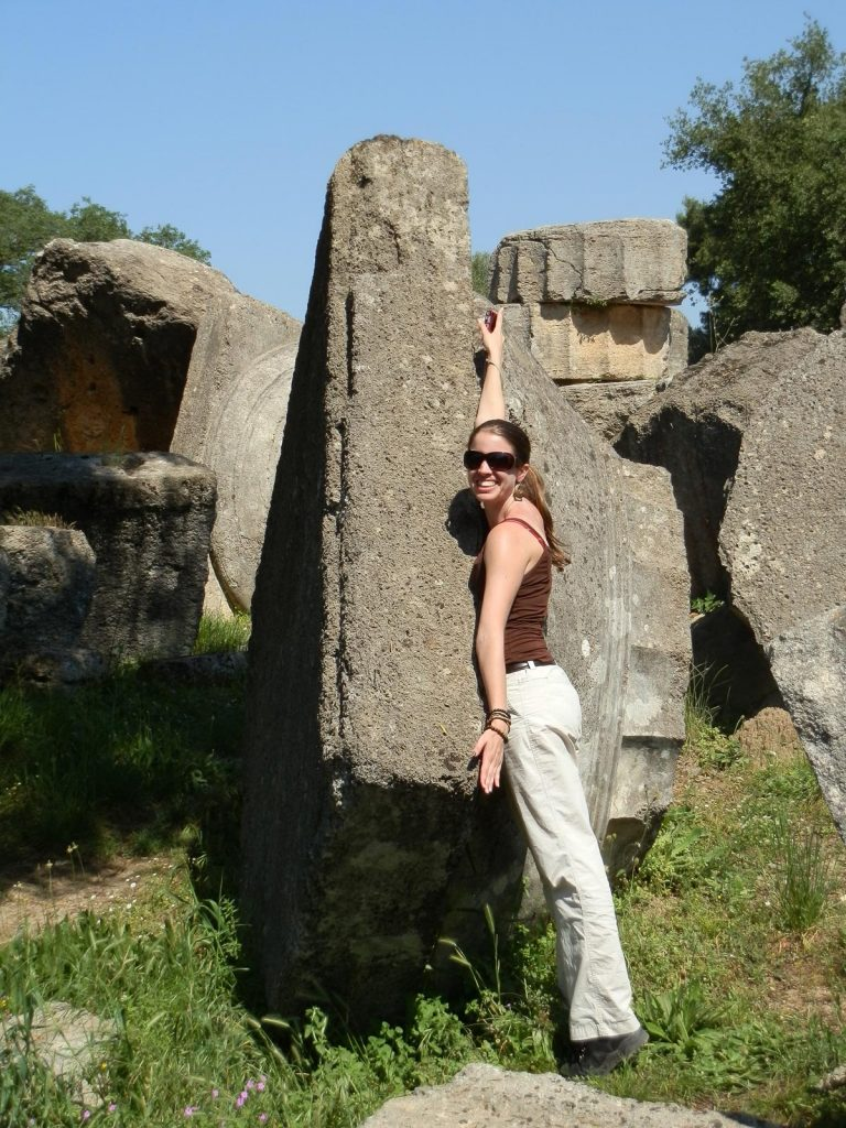 Kristen Mann at the Temple of Zeus in Olympia, 2012
