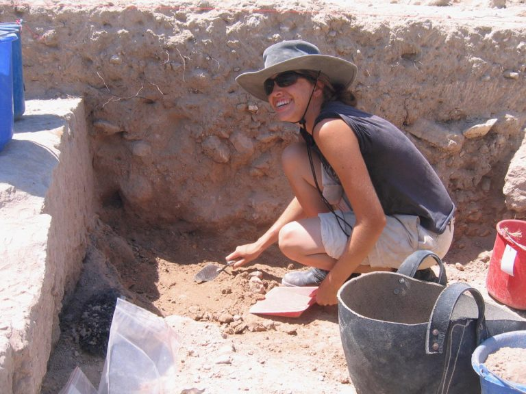 Kristen Mann excavating in Paphos, Cyprus, 2007