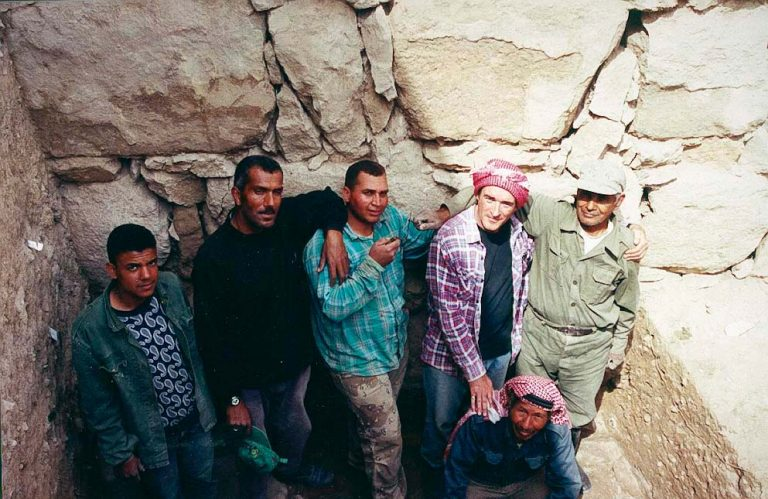 Paul and the dig team at Pella in Jordan, 2001