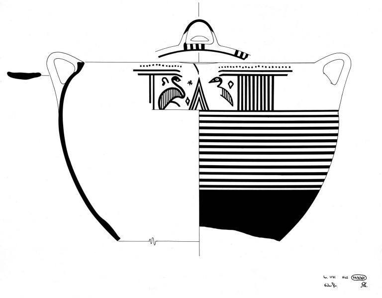 Artist's impression of a krater with bird design