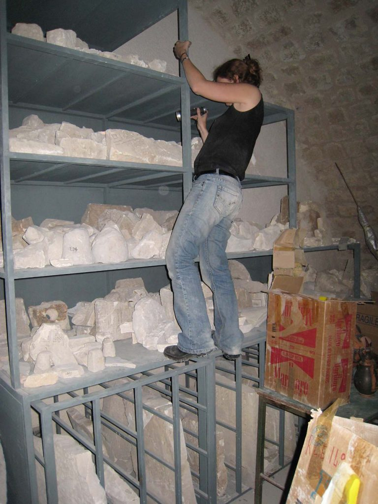 Conducting PhD research in the basement of the National Museum of Manfredonia, Apulia, Italy, 2007