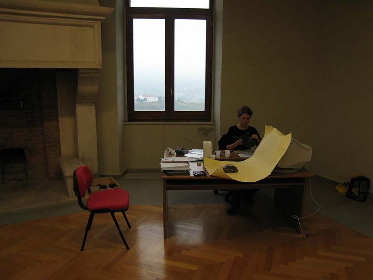 Makeshift office in the Castle of Melfi, Basilicata, Italy, 2007