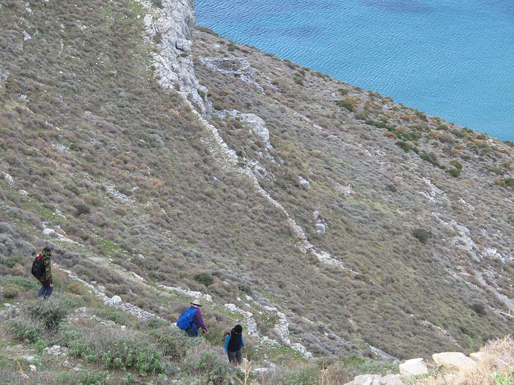 Stavros Paspalas, Meg Miller and Lesley Beaumont walking down the steep slope to do a transect survey