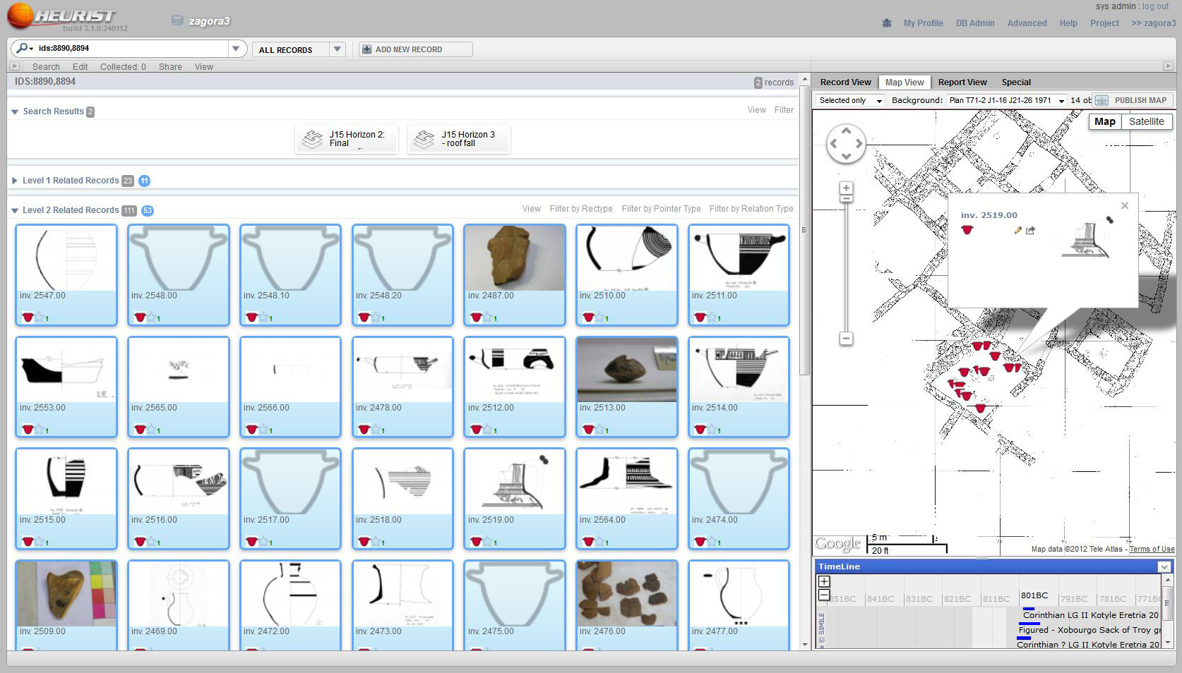 Heurist screenshot of J15 artefacts