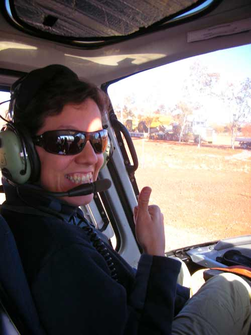 Guadalupe aboard a helicopter for a survey in Western Australia