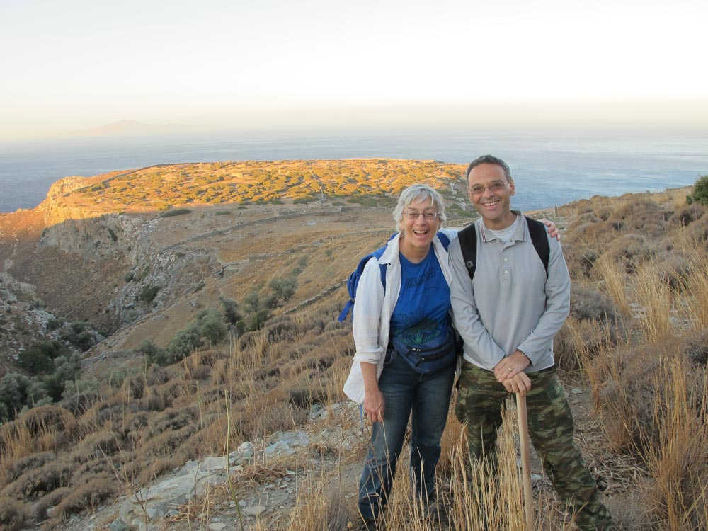 Professor Meg Miller and Dr Stavros Paspalas, with Zagora behind them.