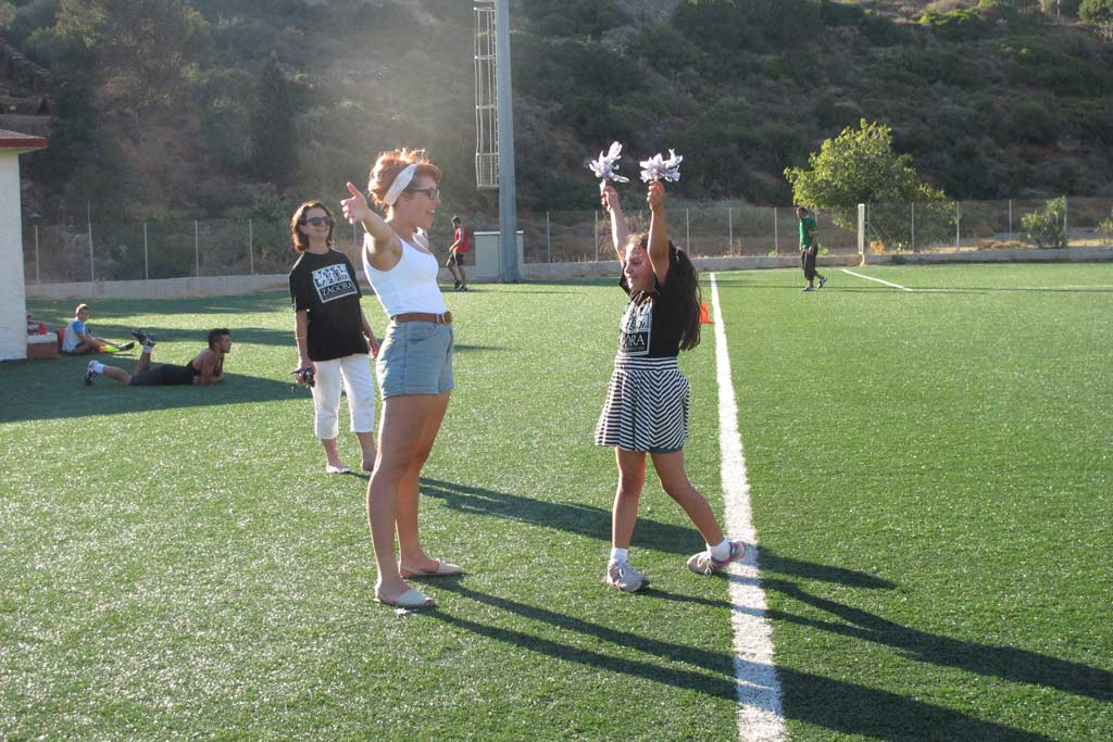The Team Zagora cheer squad, from left: Lesley Beaumont, Tessa Morgan, and cheerleader, Lydia Beaumont-Cankaya