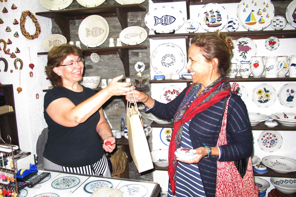 One of our Zagora team, Lea Alexopoulos, making a purchase from Sophia Melita