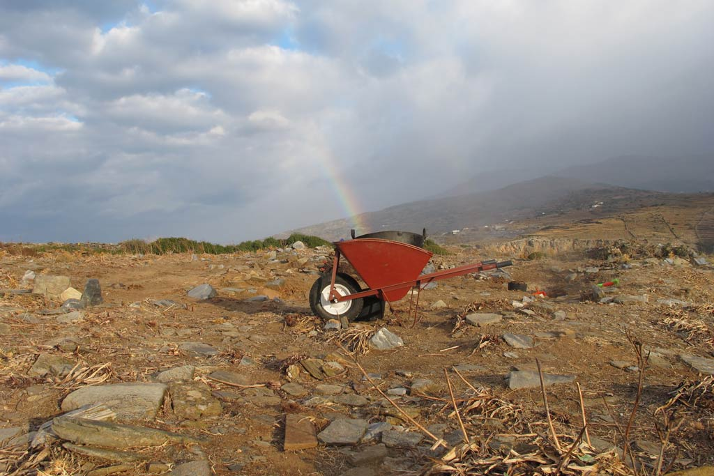 Rainbow into wheelbarrow at excavation area 2