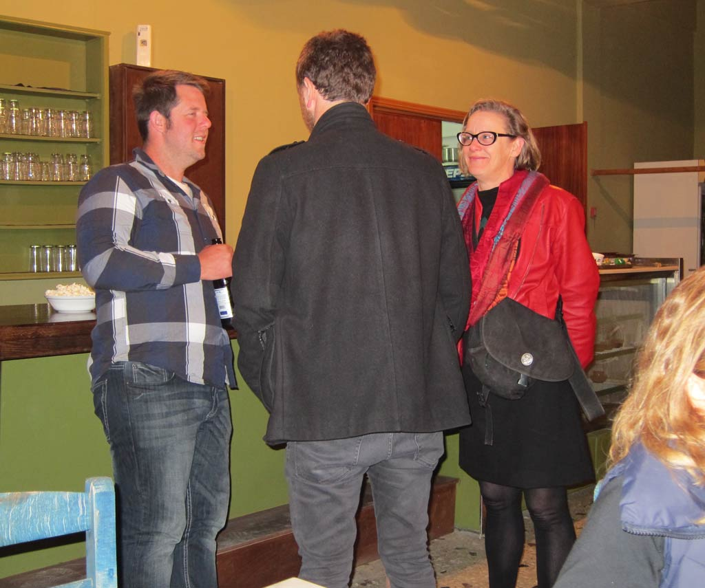 Beatrice McLoughlin (at right) talking to (from left) Dr Hugh Thomas and Dr Matt McCallum after a hard day's work