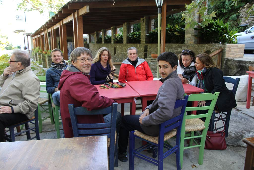 Members of the Zagora 2013 team in the Menites cafe courtyard. From left: Antonio Bianco, Peter Londey, Kristen Mann, Paul Donnelly, Sami Beaumont-Cankaya, Sue Jorgenson and Lea Alexopoulos