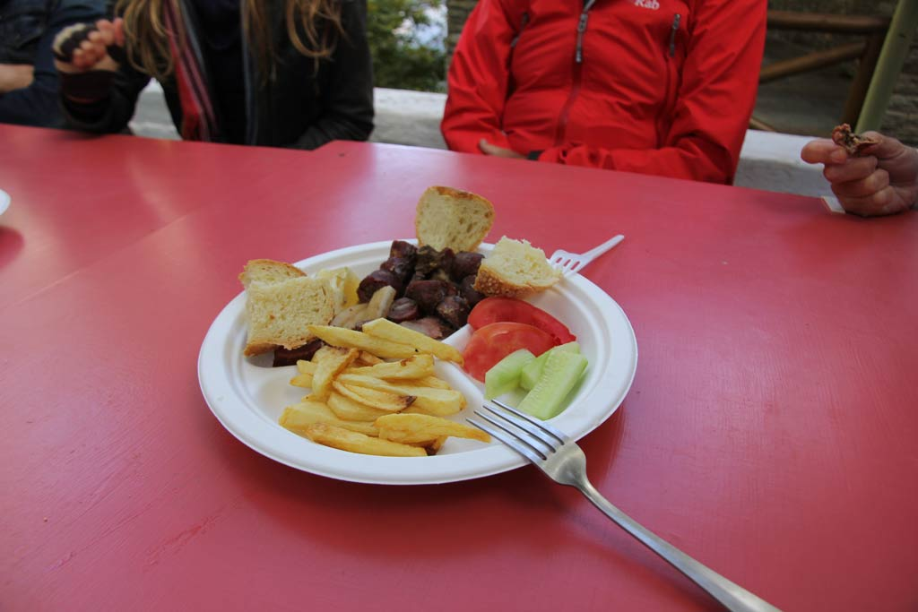 A plate of pork, pork sausage and chips at the three-day Pork Festival at Menites