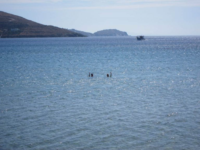 Petra Janouchova and Adela Sobotkova swimming in the Aegean across the road from the Kantouni
