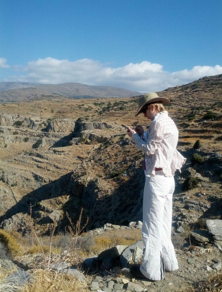 Adela Sobotkova doing fieldwork for the Zagora Archaeological Project