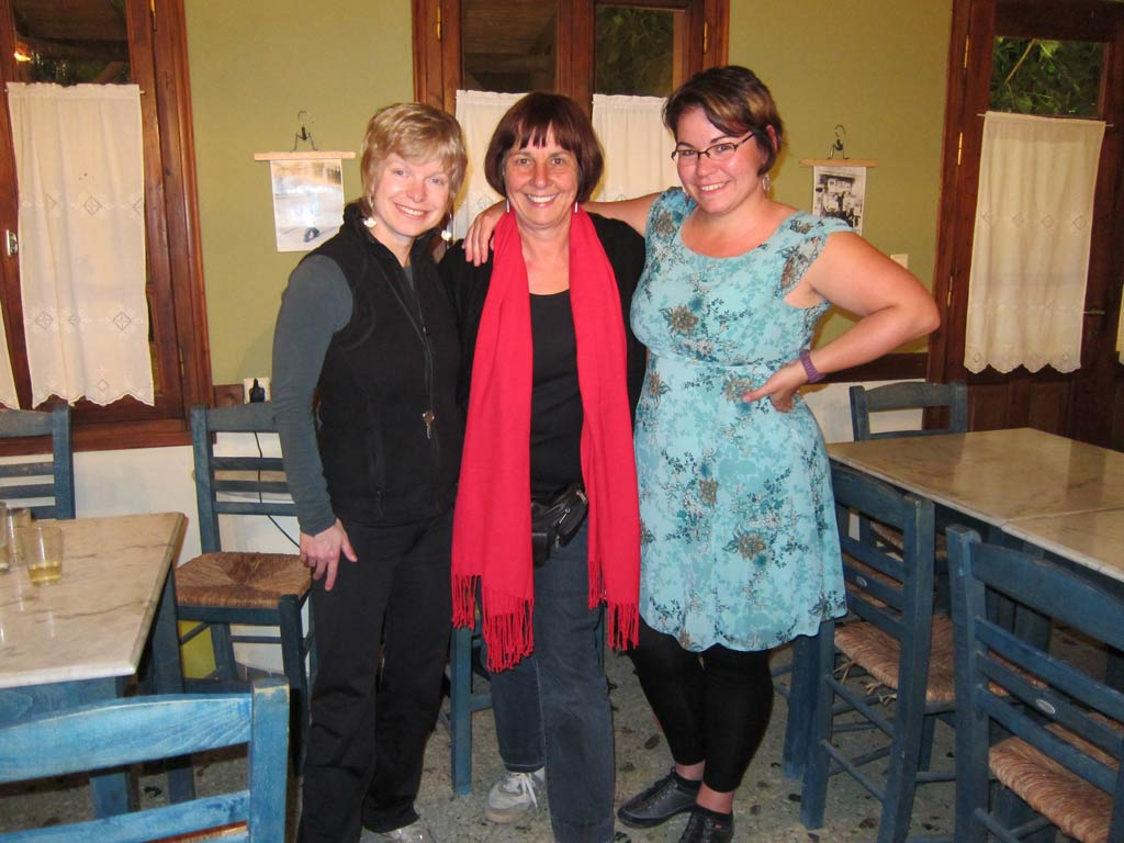 Adela Sobotkova, Irma Havlickova and Petra Janouchova in the Kantouni Cafe at Batsi.