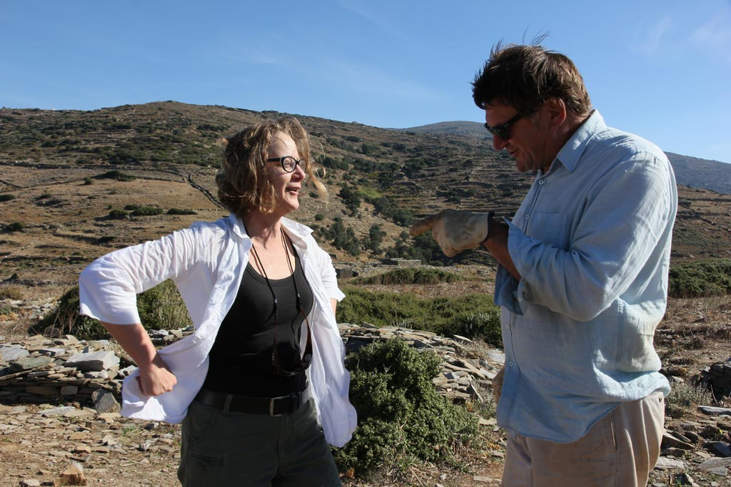Beatrice with Mel Melnyczek, supervisor of Excavation Area 2 in 2013, on site at Zagora