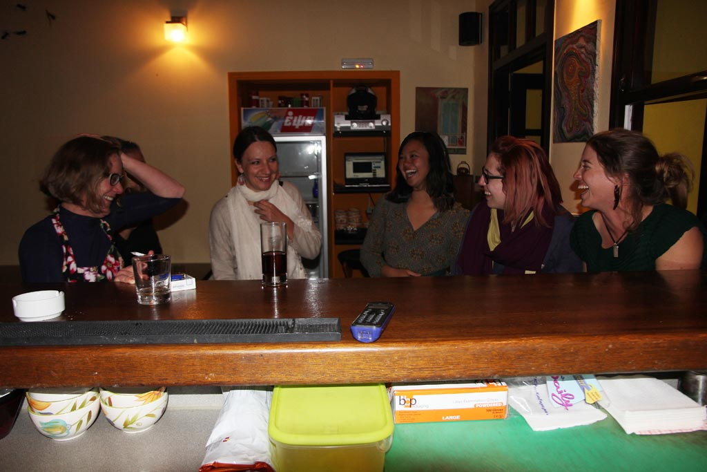 From left: Beatrice McLoughlin, Evi Margaritis, Elaine Lin, Tessa Morgan and Kristen Mann enjoy a laugh together while unwinding at the Kantouni bar on a Saturday night.