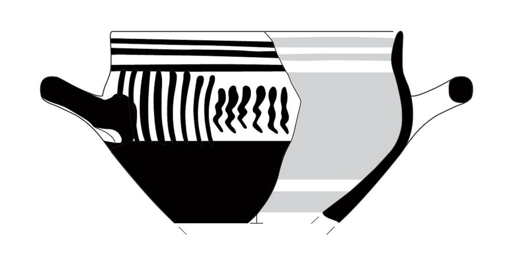 Late Geometric cup found at Zagora as portrayed by archaeological illustrator/artist, Anne Hooton