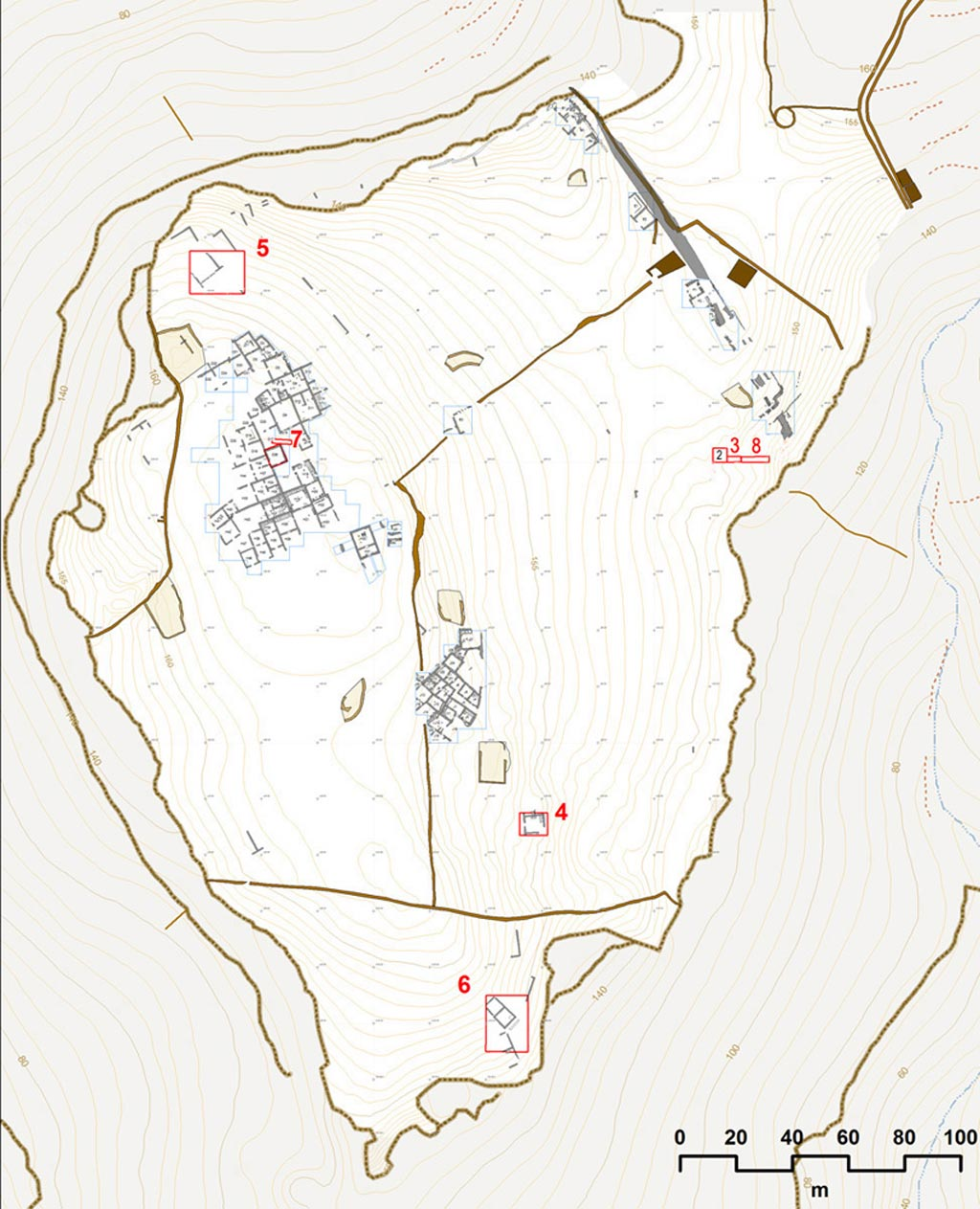 The plan showing the areas being excavated at Zagora in 2014