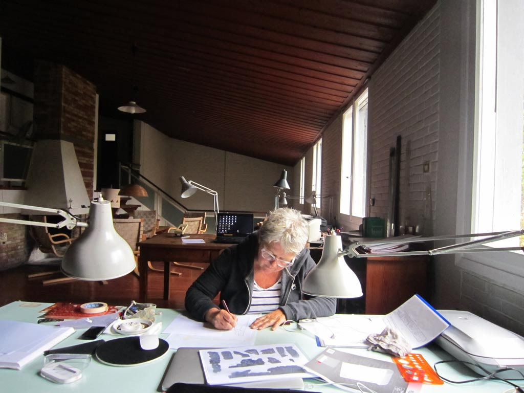 Anne Hooton at her desk in the Swedish Institute while working on the Kalaureia excavations