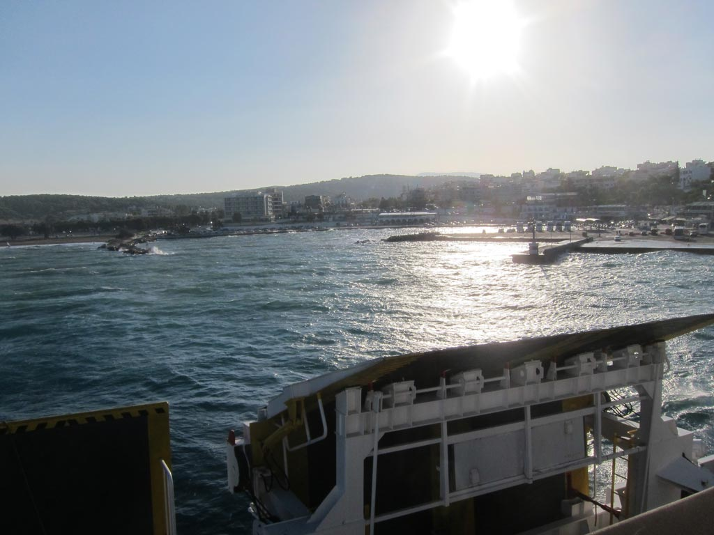 The view from the back of the ferry as we departed Rafina for Andros