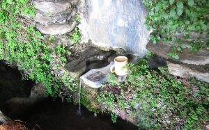 It is customary for there to be a cup in springs such as these so a thirsty passer-by may drink the sweet water
