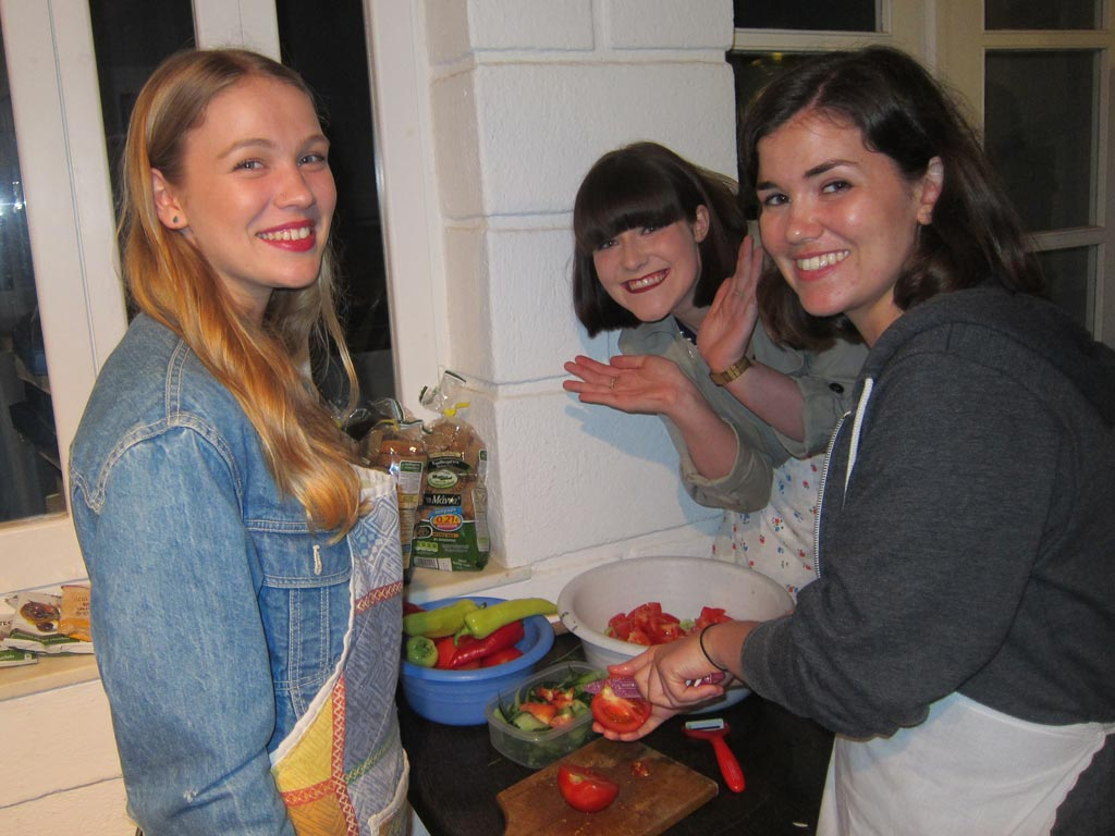 Francesca McMaster, Arabella (Bella) Cooper and Megan Sheppard Brennand  preparing the Greek salad