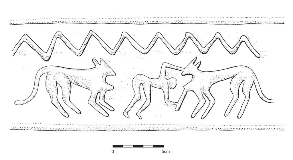 Illustration by Anne Hooton of applied relief on ceramic sherds