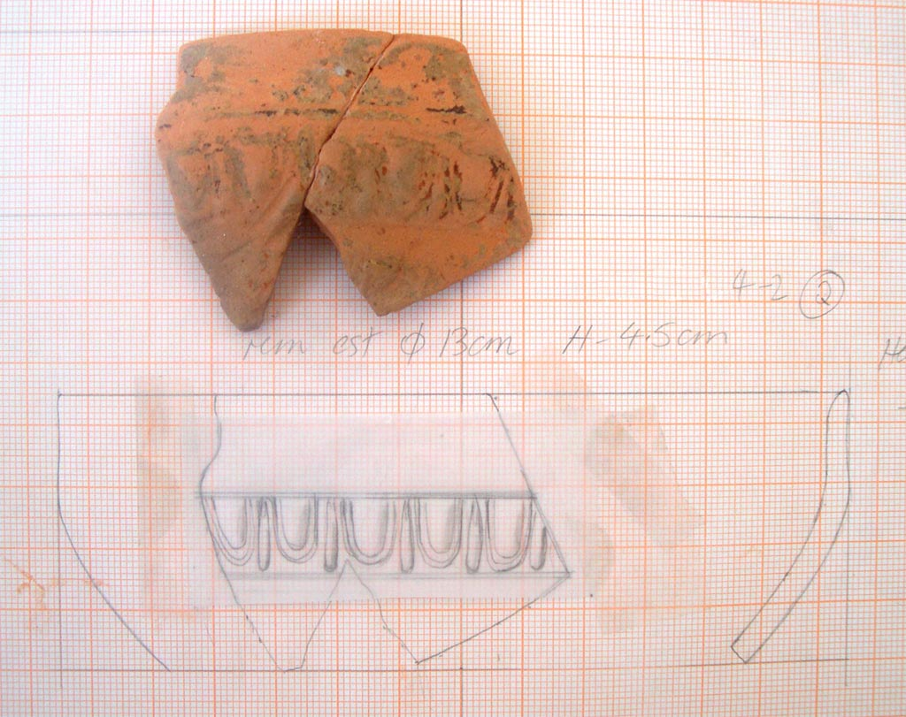 Artefact excavated from the Sanctuary of Poseidon, Kalaureia; drawing by Anne Hooton