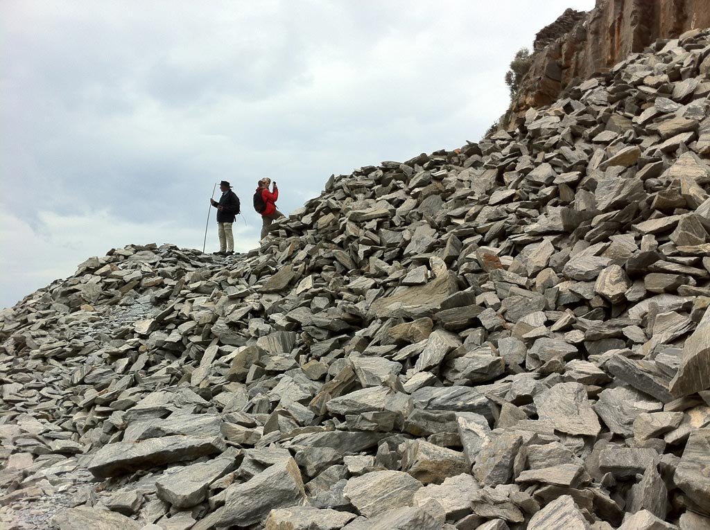 Andrew Wilson and Paul Donnelly on a stone pile