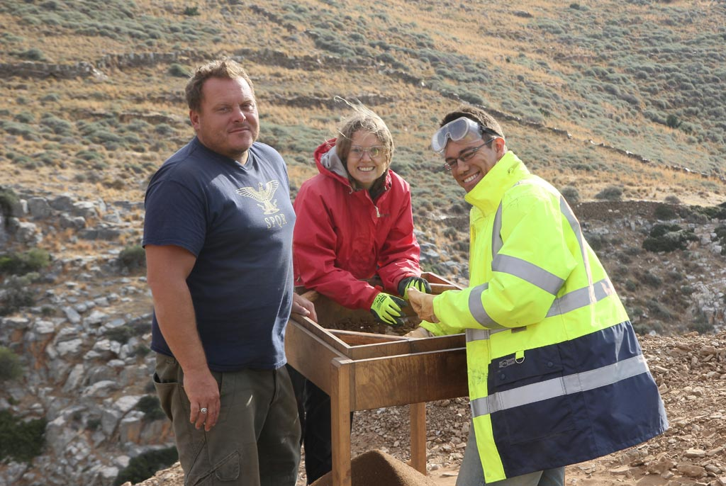 From left: Adam Carr, Claire Vincent and Marco Schugk dry sieving