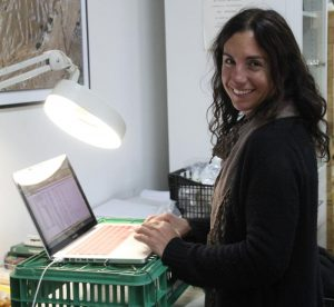 Melanie Fillios entering the bone finds into the database on her laptop in the Andros Archaeological Museum