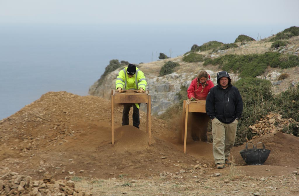 From left, Marco Schugk, Claire Vincent and Adam Carr. Marco and Claire are sieving soil to ensure no evidence is overlooked