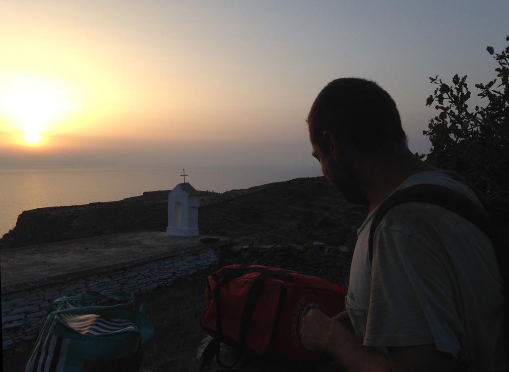 Olivier Vanwalleghen watches the sunset from the path after a hard day's backfilling