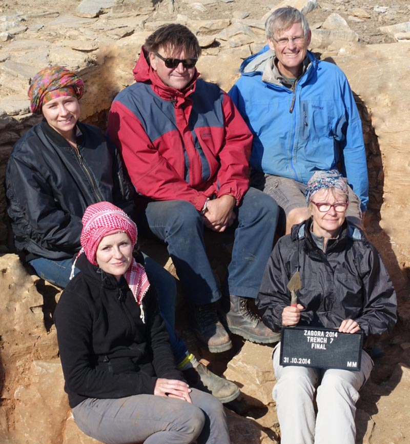 Trench supervisor, Mel Melnyczek, with his trench team, clockwise from top left: Laura Mansell, Mel Melnyczek, Brady Kiesling, Susan Wrigley and Hannah Gwyther
