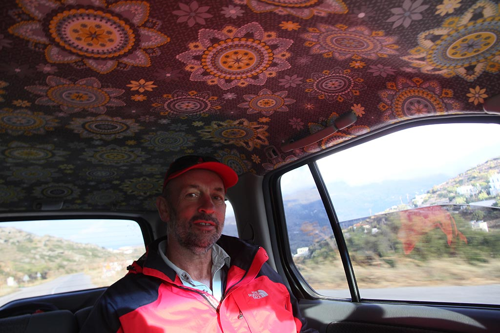Bob Miller in the back of the car we called 'Daisy' (can you guess why?) on the way to Zagora one morning in 2014